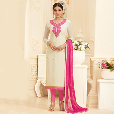 Elegant White Georgette Embroidered Partywear Dress Material