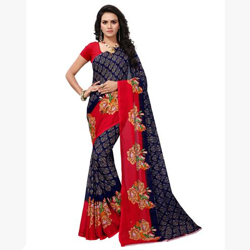 Eye-catching Blue-Pink Colored Casual Printed Georgette Saree