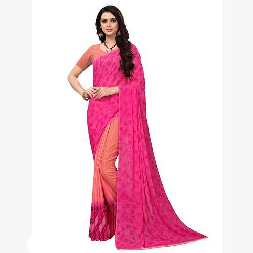 Amazing Pink-Peach Colored Casual Printed Georgette Saree