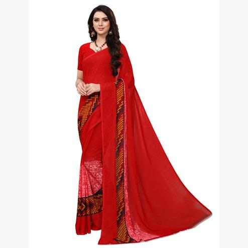 Exotic Red Colored Casual Printed Georgette Saree