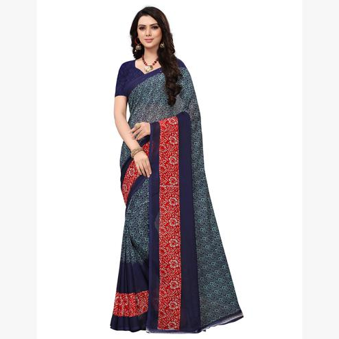 Majesty Blue-Red Colored Casual Printed Georgette Saree