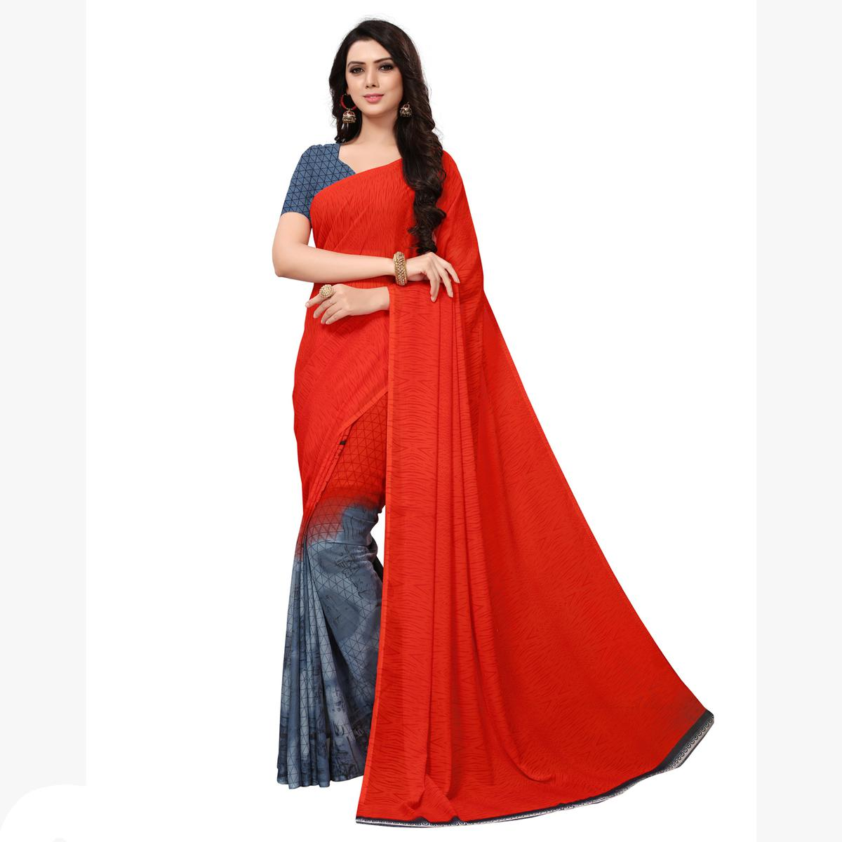 Preferable Dark Orange-Grey Colored Casual Printed Georgette Saree