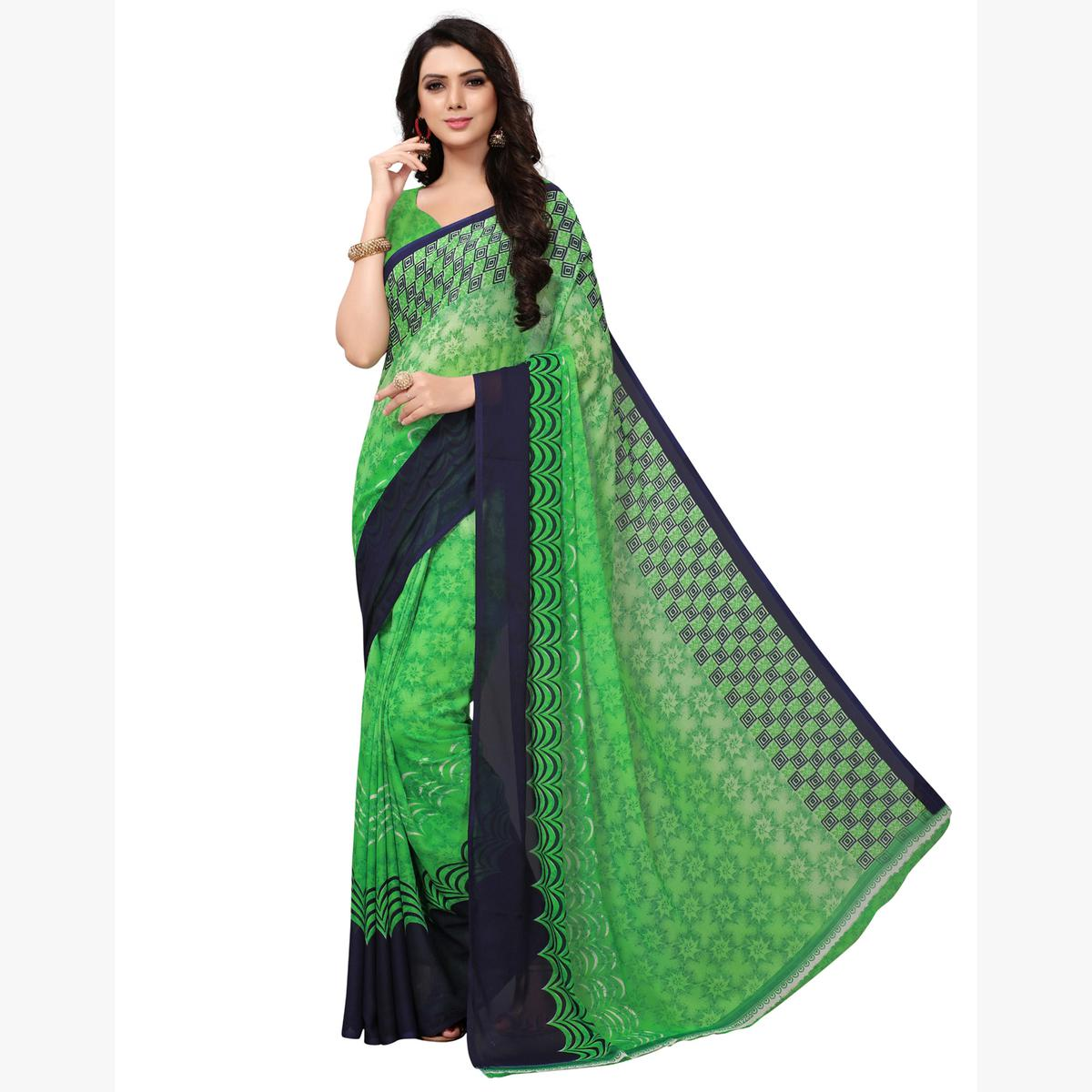 Attractive Light Green Colored Casual Printed Georgette Saree