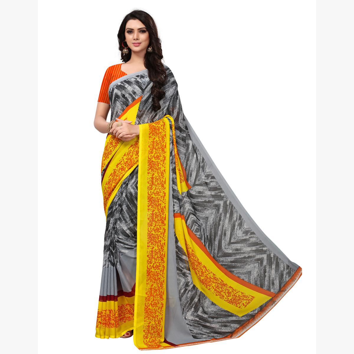 Beautiful Grey-Yellow Colored Casual Printed Georgette Saree