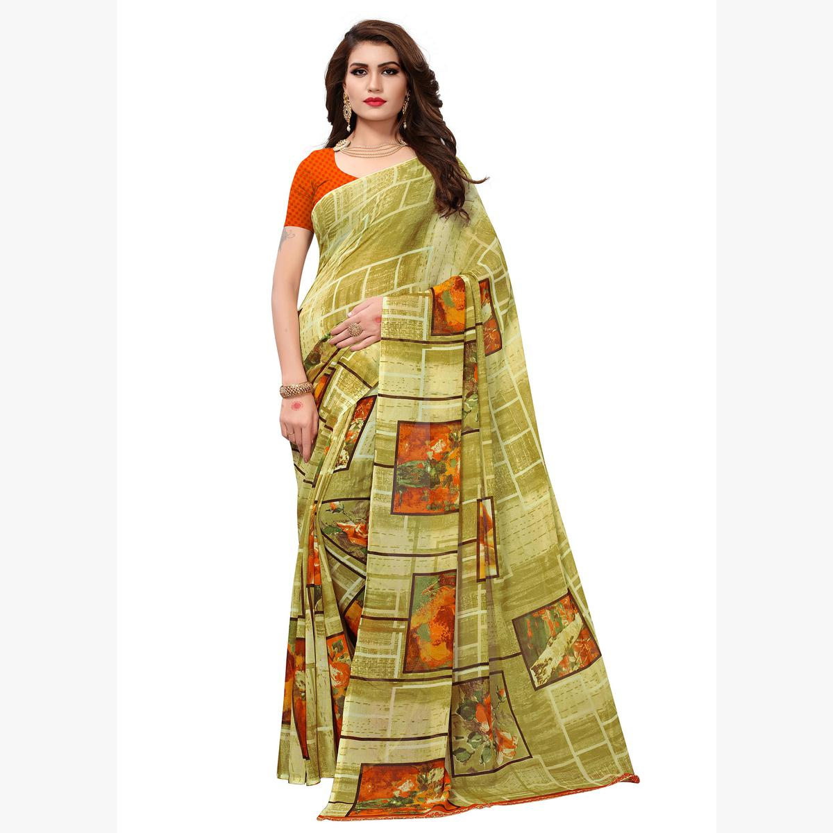 Gorgeous Olive Green Colored Casual Printed Georgette Saree