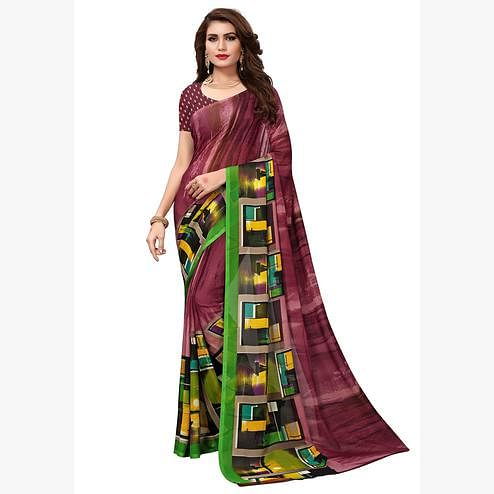 Glorious Wine-Green Colored Casual Printed Georgette Saree