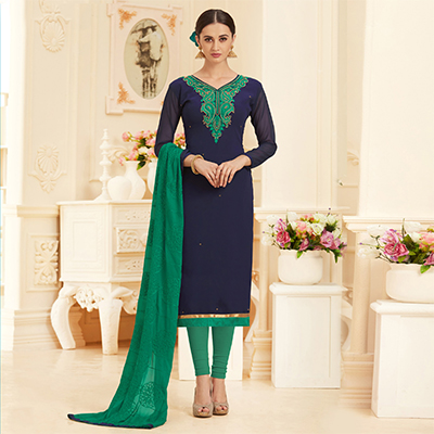 Stunning Navy Georgette Embroidered Partywear Dress Material