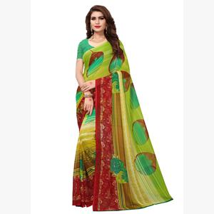Graceful Light Green Colored Casual Printed Georgette Saree