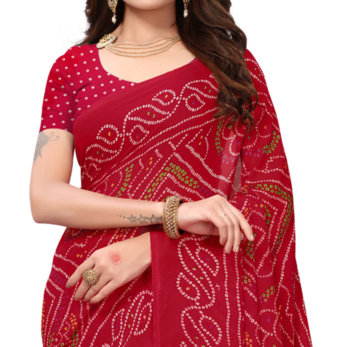 Charming Red Colored Casual Printed Georgette Saree
