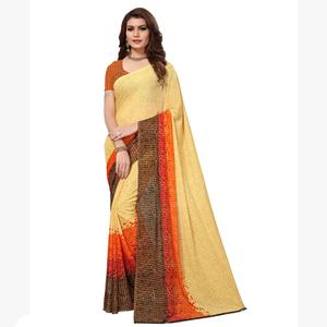 Ravishing Cream Colored Casual Printed Georgette Saree