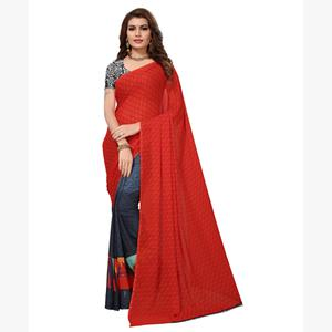Jazzy Tomato Red-Grey Colored Casual Printed Georgette Saree