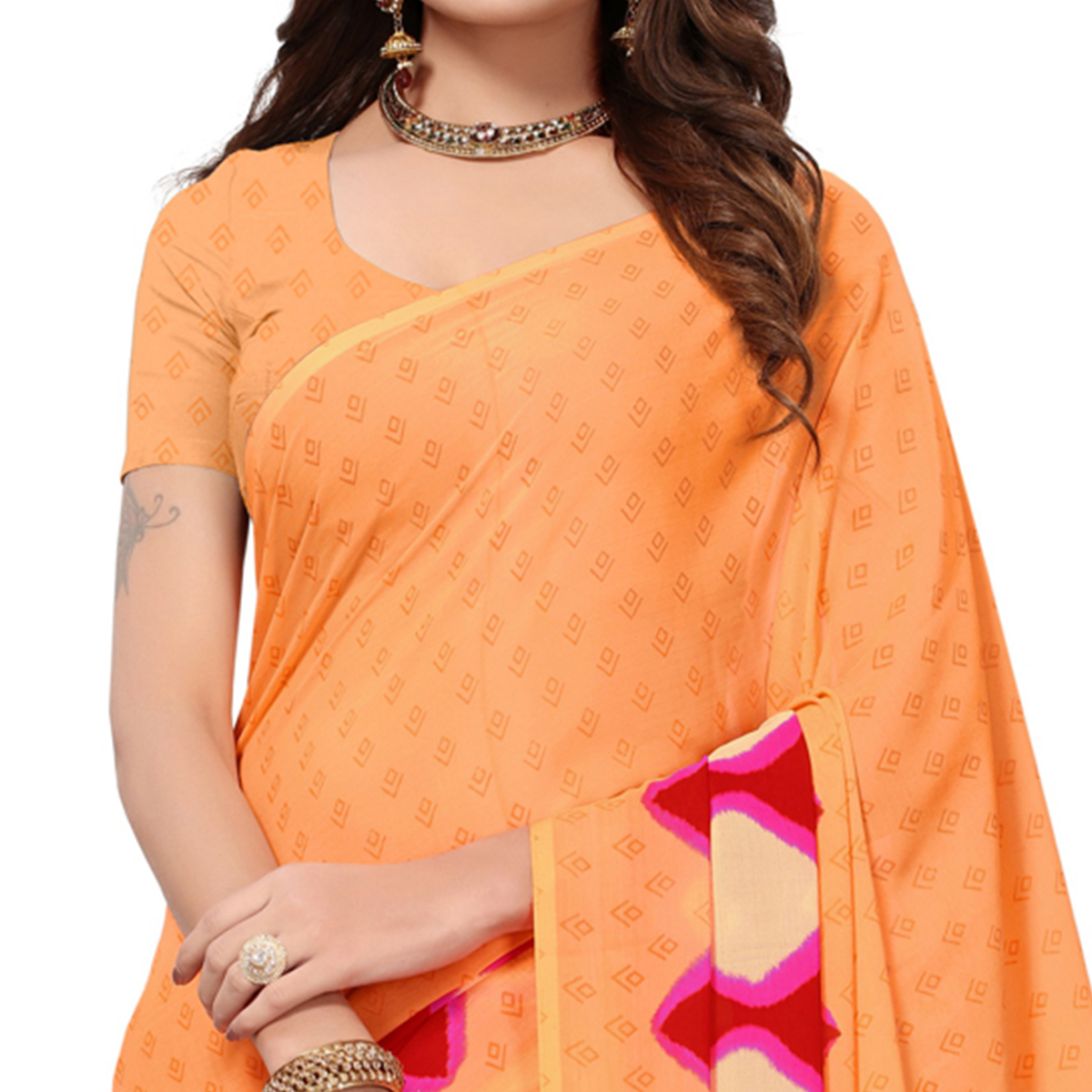 Appealing Light Orange Colored Casual Printed Georgette Saree