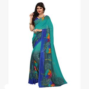 Groovy Turquoise Blue-Grey Colored Casual Printed Georgette Saree