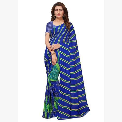 Pleasant Blue Colored Casual Printed Georgette Saree