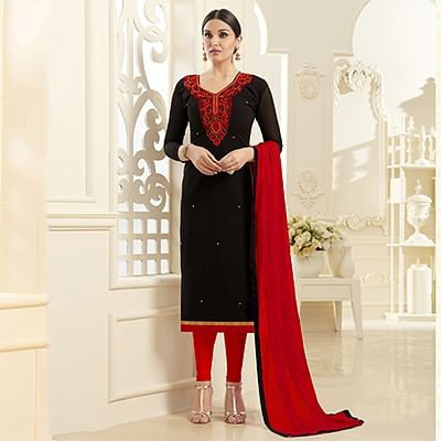 Sizzling Black Georgette Embroidered Partywear Dress Material