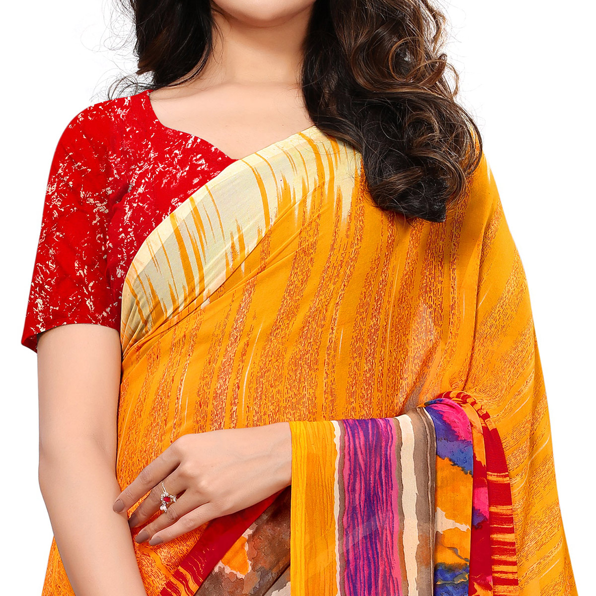 Refreshing Mustard Yellow-Red Colored Casual Printed Georgette Saree