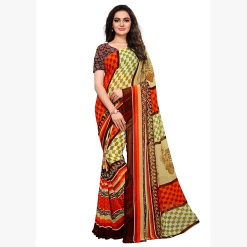 Elegant Multicolored Casual Printed Georgette Saree