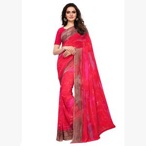 Alluring Pink Colored Casual Printed Georgette Saree