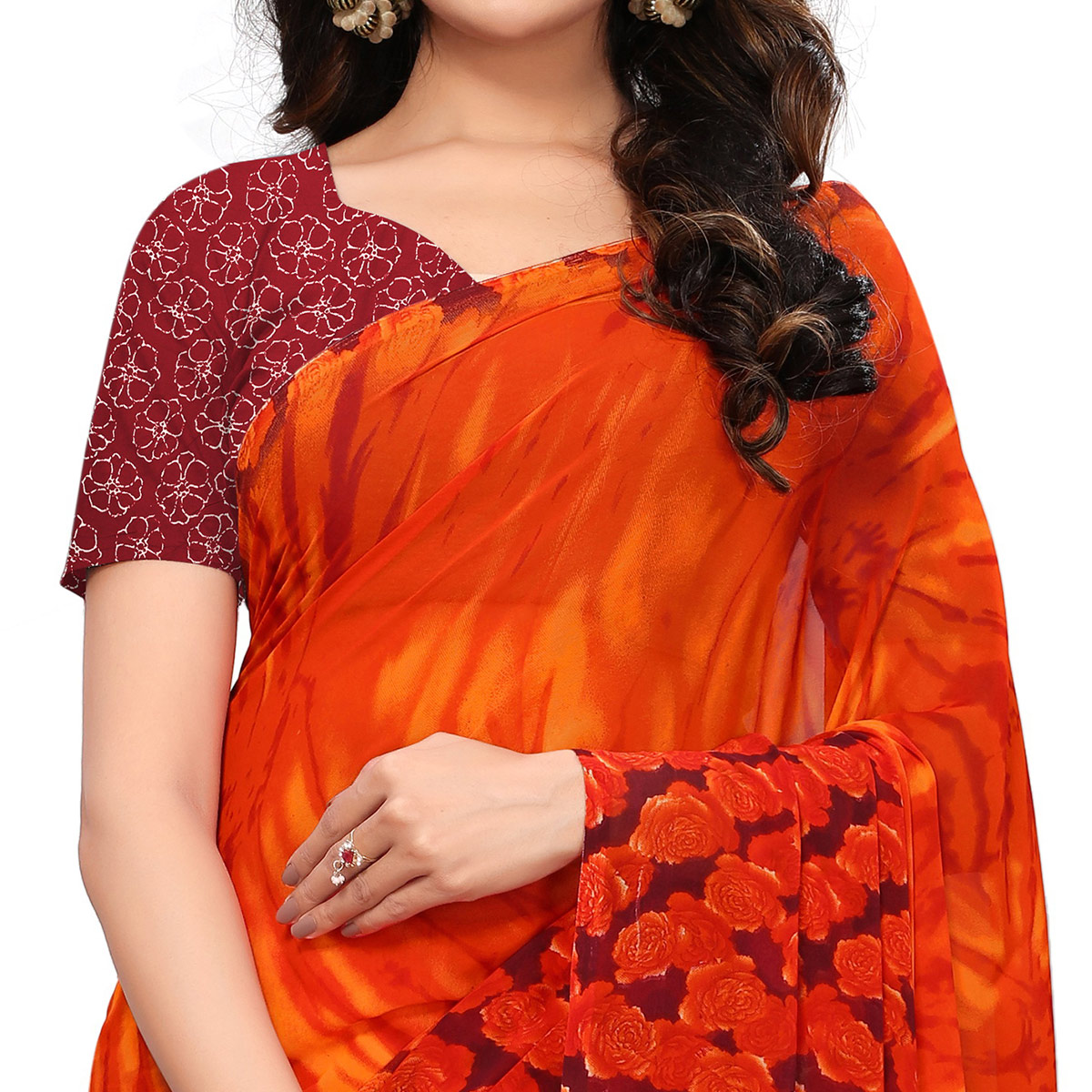 Radiant Orange-Mustard Yellow Colored Casual Printed Georgette Saree