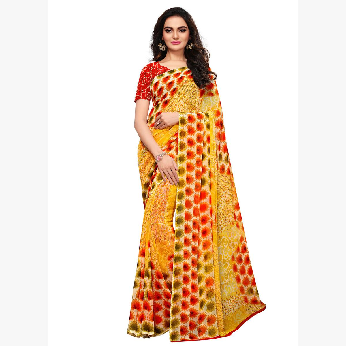 Opulent Yellow-Orange Colored Casual Printed Georgette Saree