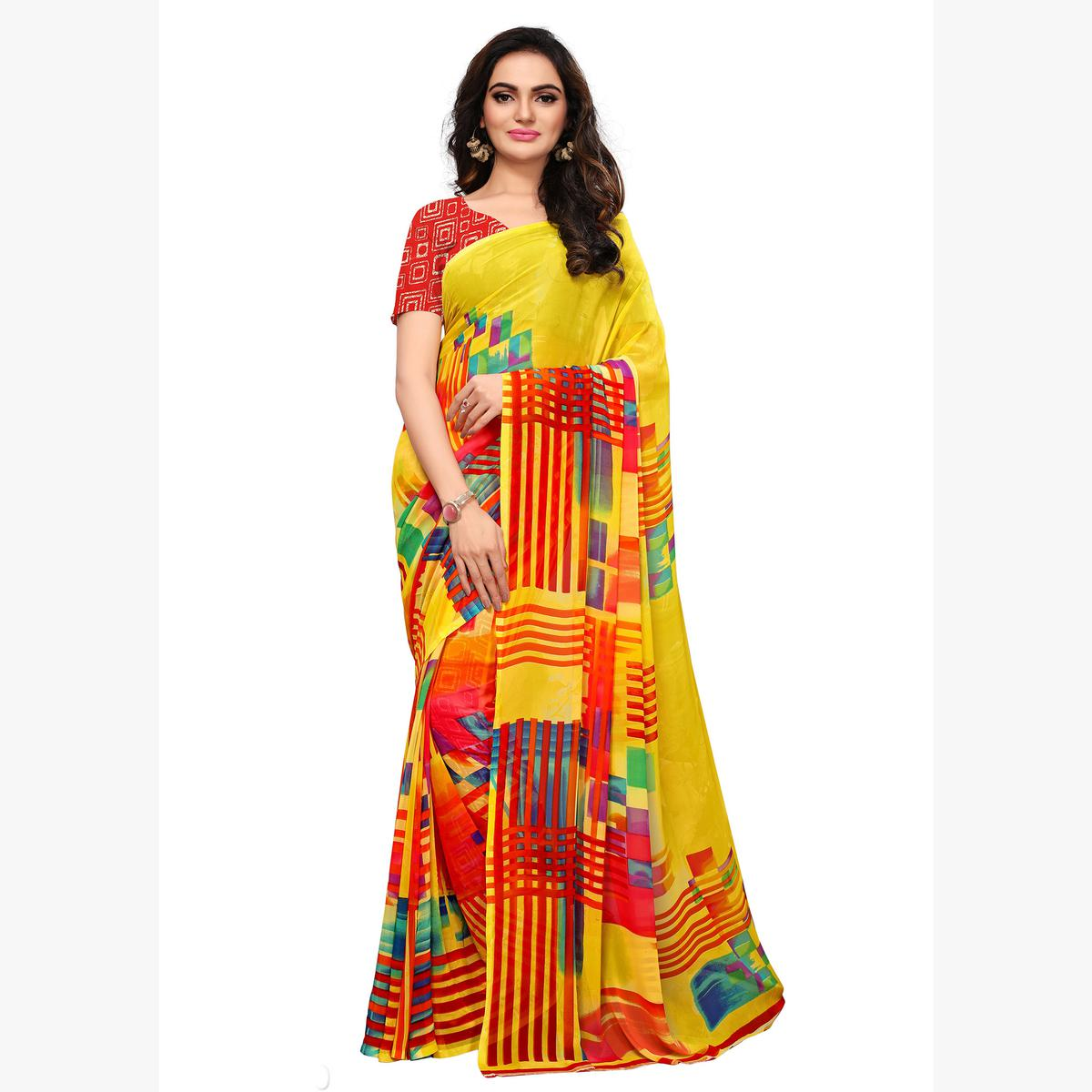 Dazzling Multicolored Casual Printed Georgette Saree