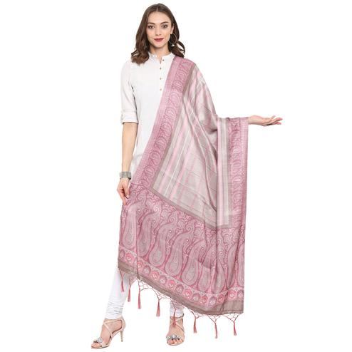 Excellent Beige-Pink Colored Casual Printed Pashmina Silk Dupatta