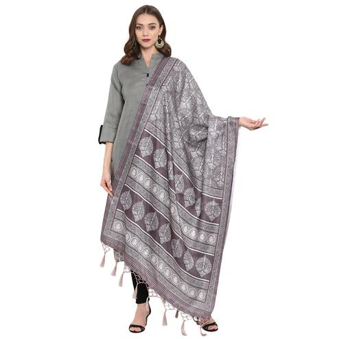 Ethnic Grey Colored Casual Printed Pashmina Silk Dupatta