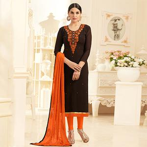 Mesmerising Brown Georgette Embroidered Partywear Dress Material