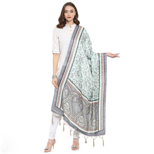 Starring Light Blue Colored Casual Printed Pashmina Silk Dupatta