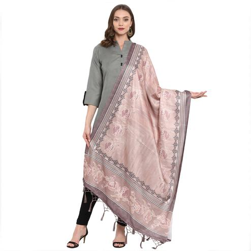 Entrancing Light Peach Colored Casual Printed Pashmina Silk Dupatta
