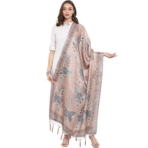 Imposing Beige Colored Casual Printed Pashmina Silk Dupatta