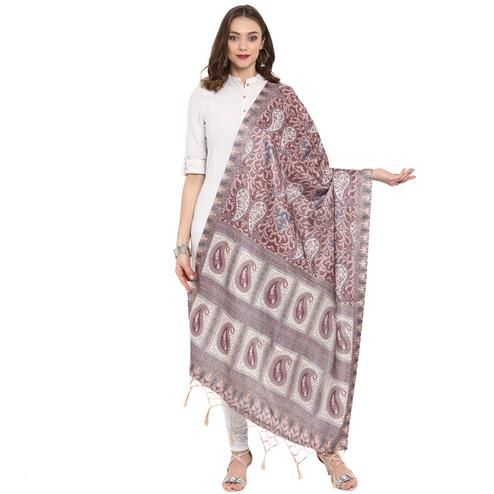 Ideal Brown Colored Casual Printed Pashmina Silk Dupatta