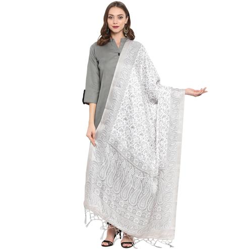 Impressive Off-White Colored Casual Printed Pashmina Silk Dupatta