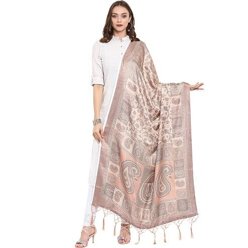 Innovative Cream Colored Casual Printed Pashmina Silk Dupatta