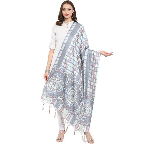 Gleaming Blue-Grey Colored Casual Printed Pashmina Silk Dupatta