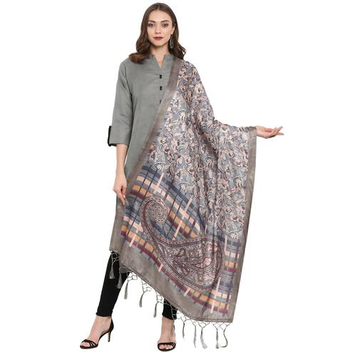 Arresting Grey Colored Casual Printed Pashmina Silk Dupatta