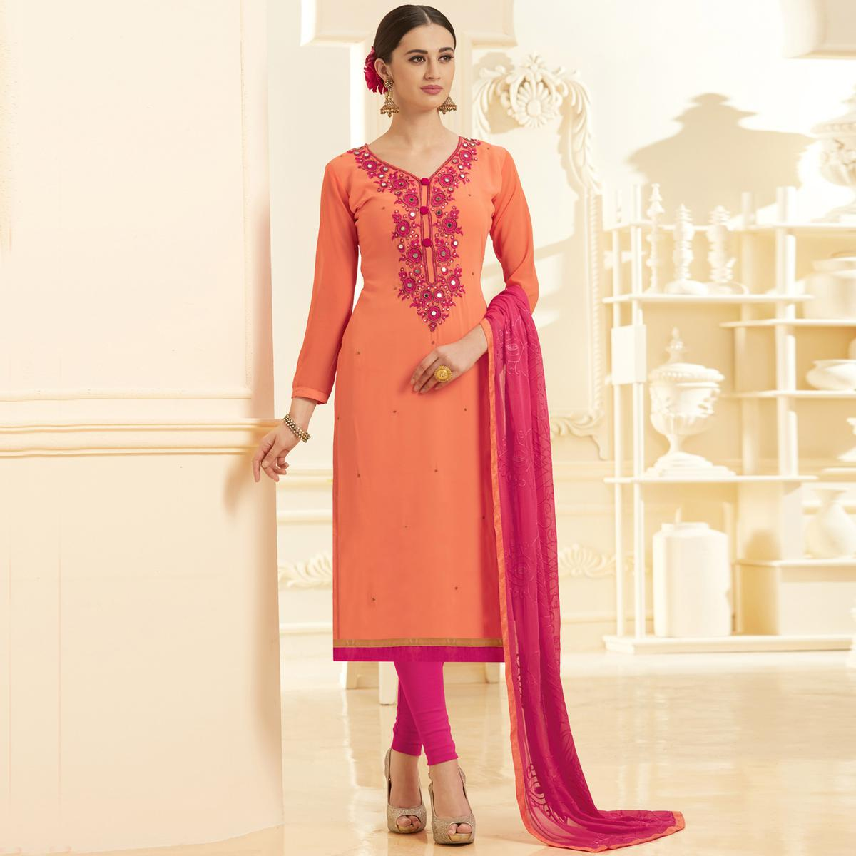 Stylish Peach Georgette Embroidered Partywear Dress Material
