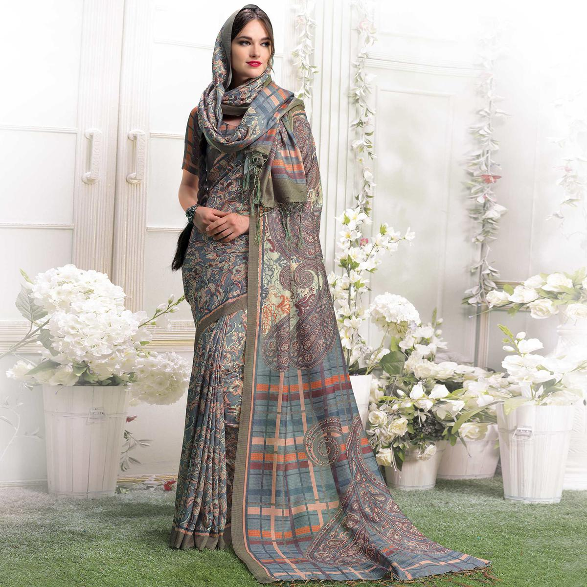 Impressive Grey Colored Casual Printed Pashmina Silk Saree With Stole