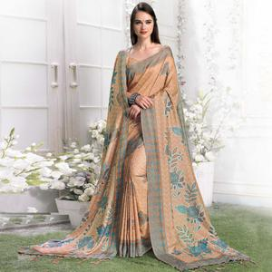 Innovative Dark Beige Colored Casual Printed Pashmina Silk Saree With Stole