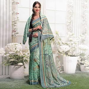Gleaming Pale Green Colored Casual Printed Pashmina Silk Saree With Stole