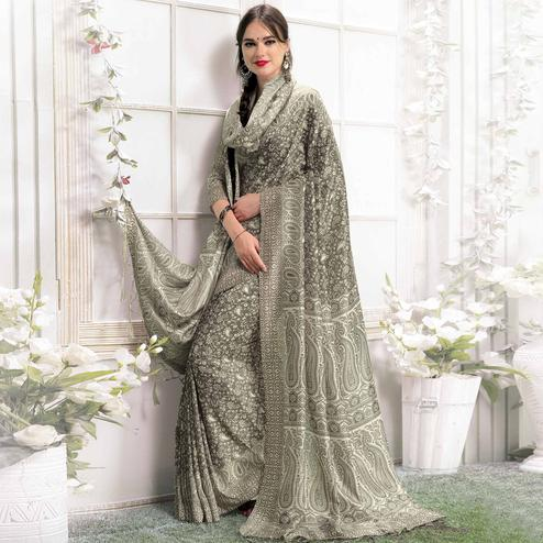 Arresting Black Colored Casual Printed Pashmina Silk Saree With Stole