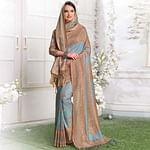 Excellent Slate Blue Colored Casual Printed Pashmina Silk Saree With Stole