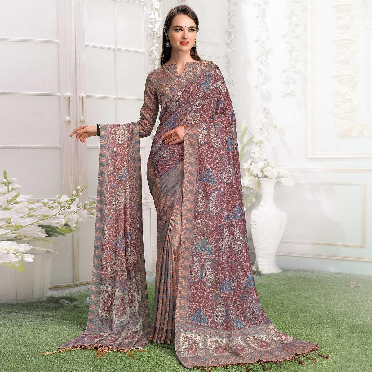 Starring Peach-Light Wine Colored Casual Printed Pashmina Silk Saree With Stole