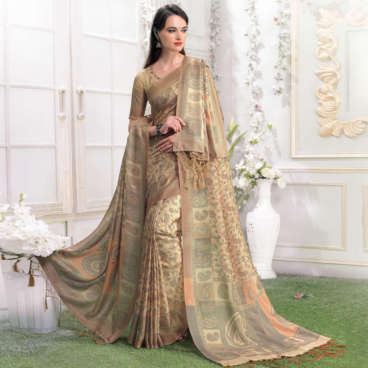 Surpassing Cream-Beige Colored Casual Printed Pashmina Silk Saree With Stole