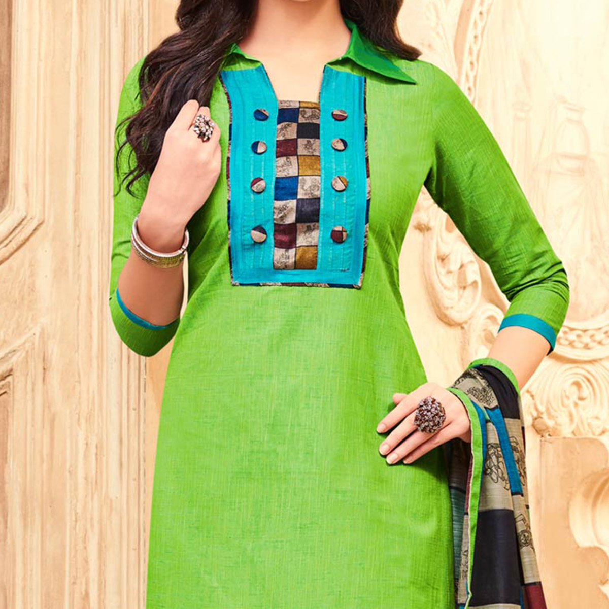 Stylish Green Printed Partywear Art Silk Dress Material