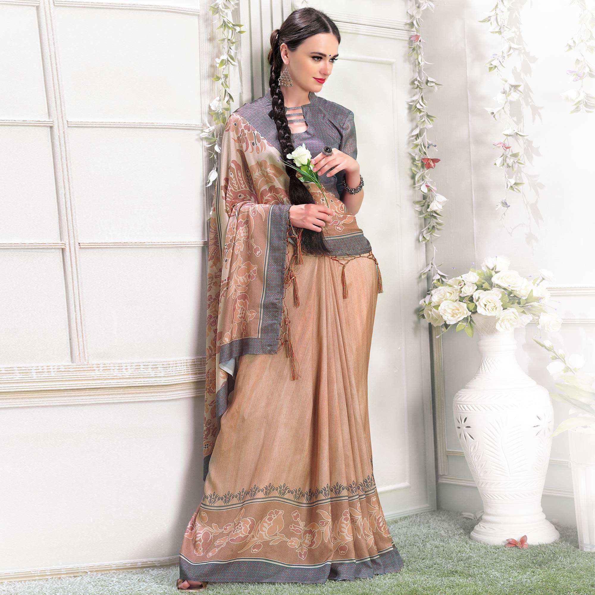 Blissful Beige Colored Casual Printed Pashmina Silk Saree With Stole