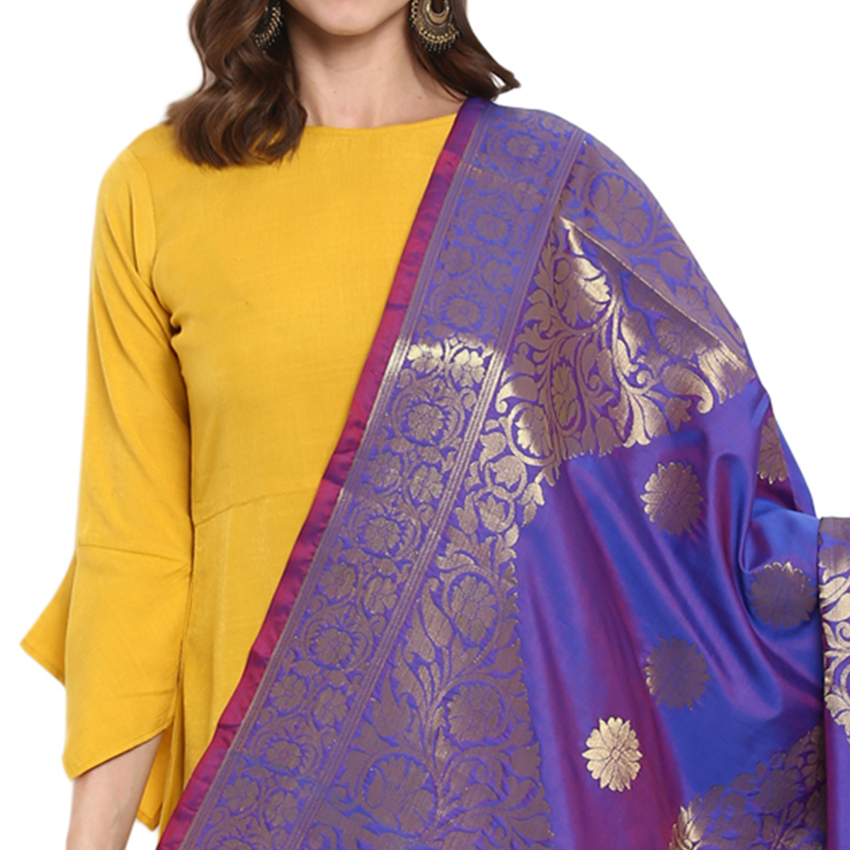 Elegant Blue Colored Festive Wear Woven Banarasi Silk Dupatta