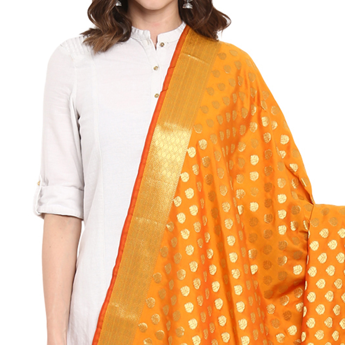 Innovative Mustard Yellow Colored Festive Wear Woven Banarasi Silk Dupatta