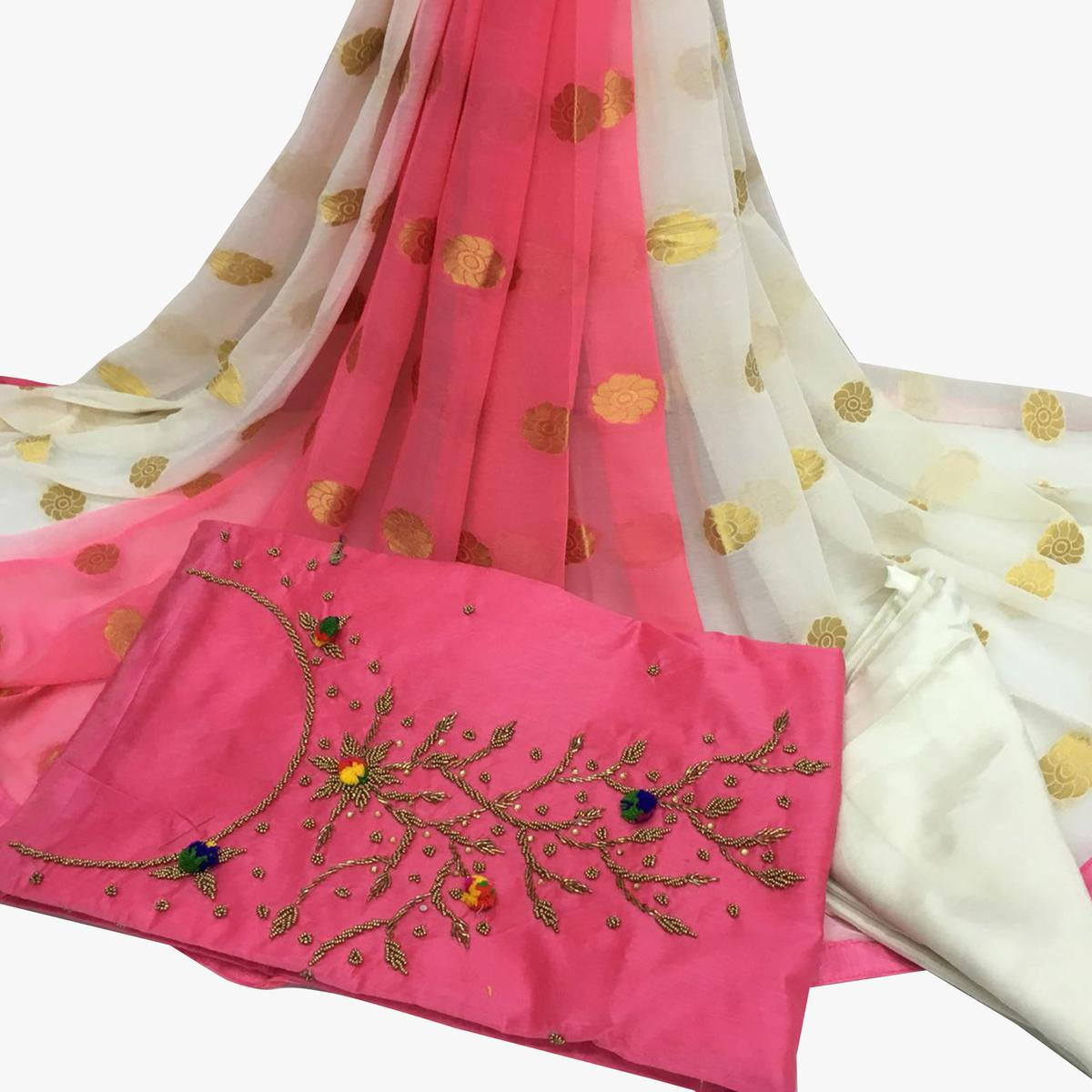 Elegant Light Pink Colored Partywear Embroidered Santoon Dress Material