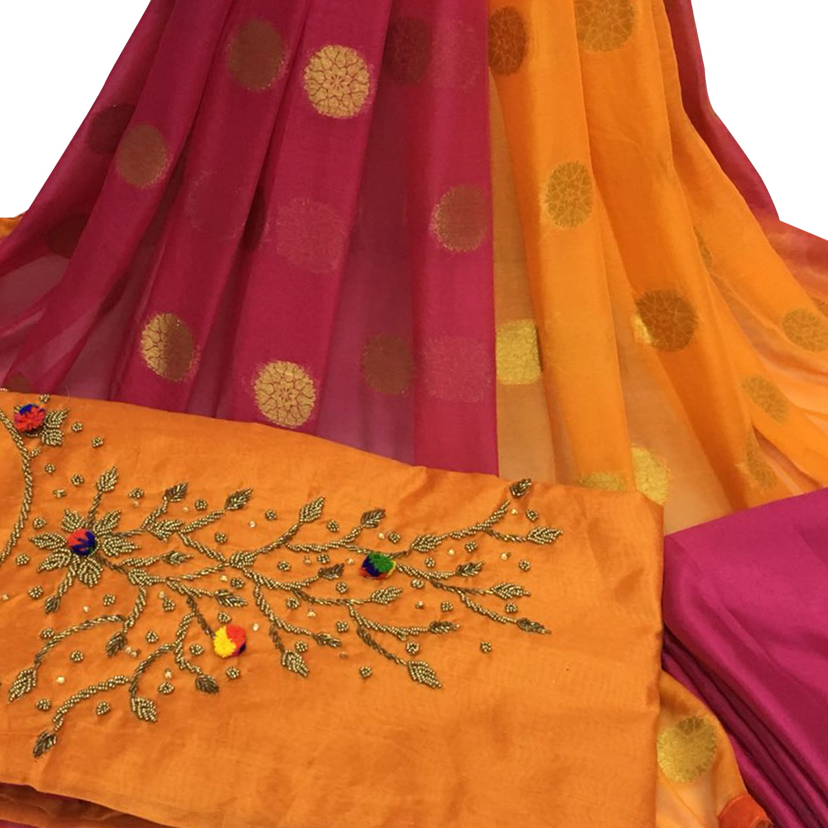 Stylish Orange Colored Partywear Embroidered Santoon Dress Material